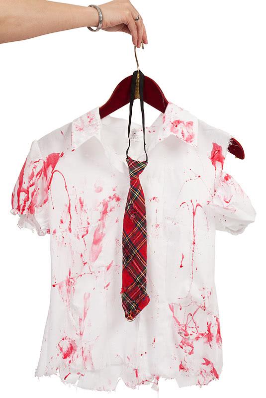 Zombie Kostüm selber machen Schulmädchen Oberteil