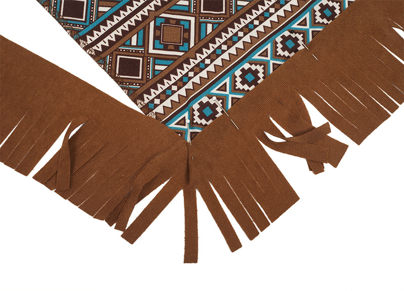 Indianer Kostüm - Poncho nähen - Fransen Ecke