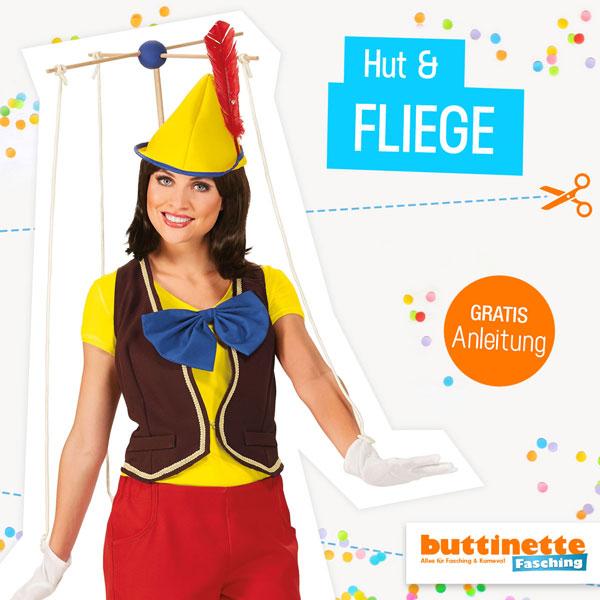Hut und Fliege für Marionette nähen